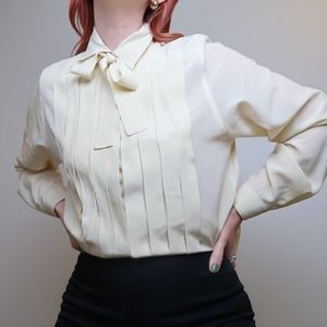 Vintage 80s cream silk pleated button-down blouse